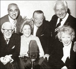 Sam Costa, Wilfred Pickles, Geraldo and (seated) Henry Hall,