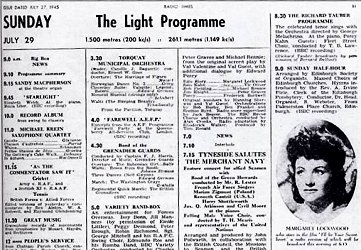 Light Programme First Day Listing 27th July 1945