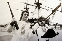 Simon Bates and Peter Powell near HMS Victory 1978.